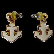 Napier Cream Enamel Anchor Earrings