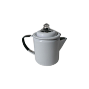 Vintage White Enamel with Black Trim Camp Coffee Pot / Percolator
