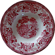 SALE PENDING Clarice Cliff Tonquin Red/Pink rim Soup Bowl Royal Staffordshire