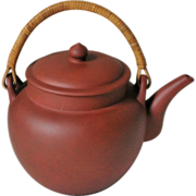 SOLD Chinese Yixing Clay Teapot Wooden Handle with Mark