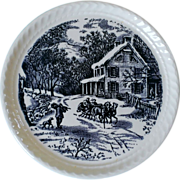 Royal China Currier & Ives Dessert / Pie Plate American Homestead Winter Blue