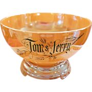 Tom & Jerry Peach Luster Punch Bowl Set by Fire King with 8 Mugs