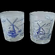 Carlton Glass Dutch Windmill Old-Fashioned / Tumbler Set