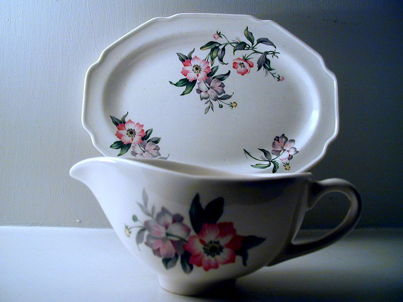 Floral Sauceboat and Small Platter