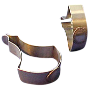 2 Unusual Large Sterling silver Napkin Clips or Rings Unmonogrammed