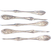 5 Shreve Brown all Sterling silver Nut Picks ca 1857 Olive or Tuscan Pattern