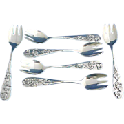 SALE 6 Sterling silver Ice Cream Forks by Frank Smith with Grapes and Vines