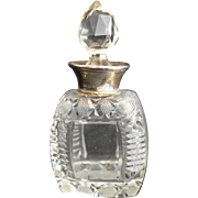 Fine Glass or Crystal Perfume Bottle with Sterling Collar and Tear Drop Stopper