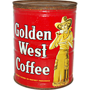 SALE Vintage Advertising Tin Golden West Cowgirl Coffee Canister Tall, circa 1930s