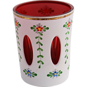 Bohemian Czech Cranberry Cased Milk White Glass Overlay Cut to Clear Hand Painted Flowers