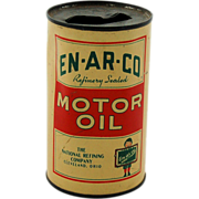 SALE Advertising Tin Toy Coin Bank En-Ar-Co Motor Oil Can Refinery Sealed The National Refinin