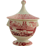 SALE Antique Staffordshire Transferware Sugar Bowl Red Pink Covered