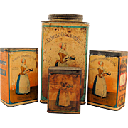 Set of Four Antique Baker's Breakfast Cocoa Chocolate Advertising Tins