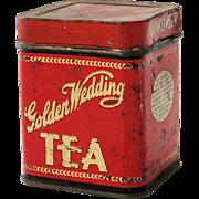 SOLD Vintage Advertising Tin Golden Wedding Green Tea Gun Powder