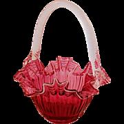 SOLD Vintage Fenton Style Cranberry Art Glass Basket White Stripes Ruffled Edge