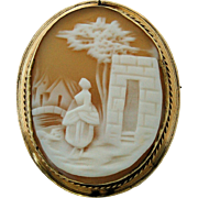 SALE Victorian Sardonic Shell Cameo Brooch Pin Hand Carved Scene Woman Buildings Bridge Trees