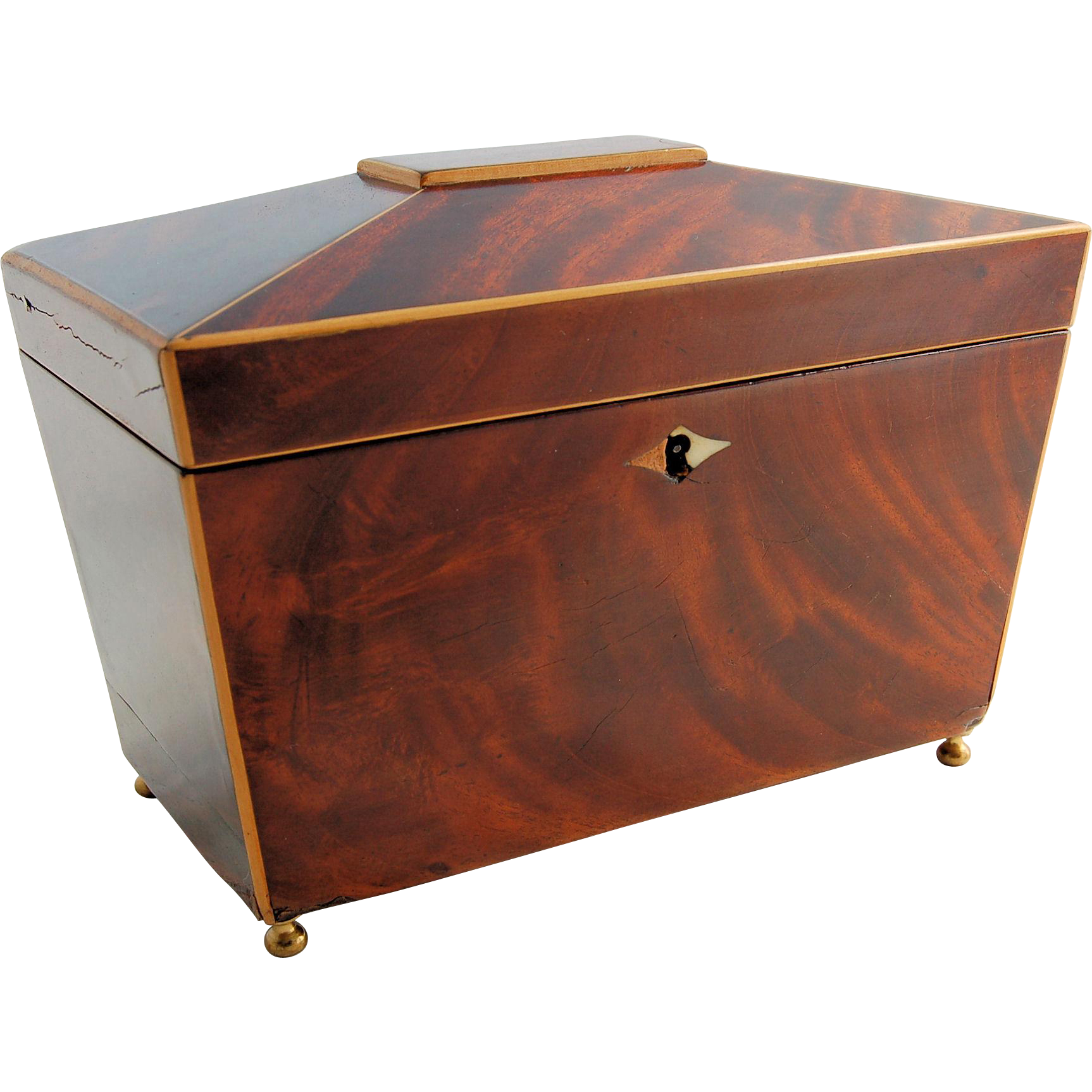 Antique Wooden Tea Caddy Mahogany Walnut Inlay Escutcheon Lock Sarcophagus Shape