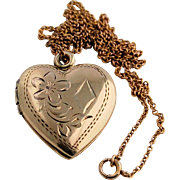 SALE 10k Yellow Gold Chain Necklace and Engraved Vintage Double Heart Locket