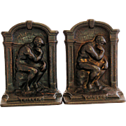 Cast Iron Bookends of The Thinker Auguste Rodin V Foundry Mark