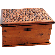 Antique Hand Carved Wooden Folk Art Jewelry Box Dresser Memory Keepsake Vanity