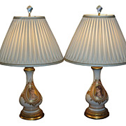 Pair of Antique Baccarat Opaline Glass Portrait Lamps