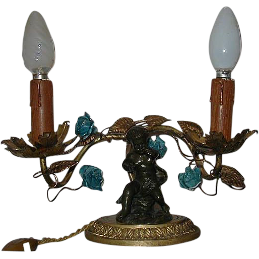 Antique French Bronze Nude Putti Table Chandelier w Claude Clodion Sculpture