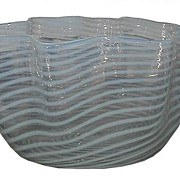 Antique American Opalescent Glass Ruffle Bowl