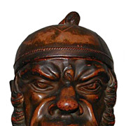 Huge Antique Eerie Head Terracotta Tobacco Jar FG