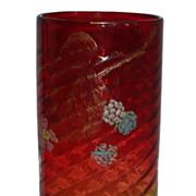 Huge Antique Hand Painted Mt Washington Amberina Glass Vase
