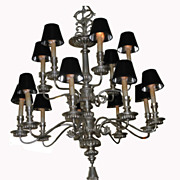Hollywood Regency Designer 12 Lite Silver-Leaf Chandelier