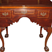Spectacular Antique English Chippendale Mahogany Lowboy Table Desk