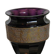 Unusual Antique Moser Tall Gilded Amethyst Cameo Glass Vase