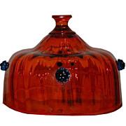 Antique Venetian Italian Glass Dome Orange & Blue