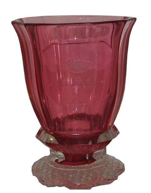 Unusual Antique Moser Royalit Cranberry Glass Beaker w Crown & PAB Monogram