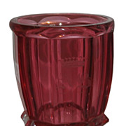 Unusual Antique Moser Royalit Cranberry Glass Beaker w Crown & AB Monogram