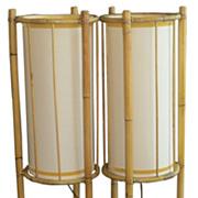 Unusual Pair of Mid Century Modern Bamboo Rattan Floor Lamps