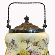 Unusual Antique Hand Painted Wavecrest American Art Glass Bubble Box