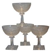 Rare Set of 4 Antique Moser Stone Cut Champagne Stems w Bird Decoration