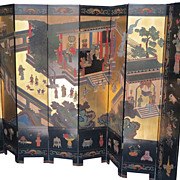 Huge Antique 8 Panel Black Lacquer Chinese Carved Gilt Decorated Screen