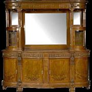 Unusual Antique 19C Mahogany & Burl Walnut Renaissance Style Sideboard Breakfront
