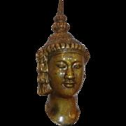Antique 19th C Chinese Bronze Sculpture of Buddha Head