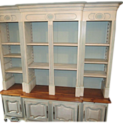 Huge Designer Louis XV Style Paint Decorated Breakfront Bookcase