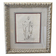 Antique 18th C Engraving Print of The Farnese Hercules Male Nude by T Cook
