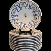 Set of 8 Antique Coalport Porcelain Plates w Hand painted Flowers & Birds