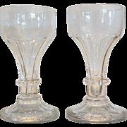 Rare Pair Antique American Cut Glass Wine Stems by Long Island Flint Glass Co