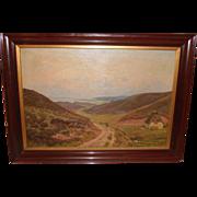 Huge Antique Danish Landscape Oil Painting by Emil Carl Lund 1855–1928