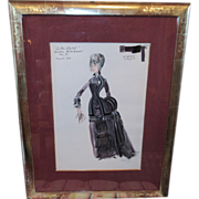 Les Follies Offenbach Watercolor Painting of Opera Costume for 1977 TV Show