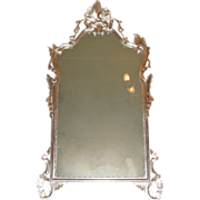 Vintage Cannell & Chaffin Italian Carved Wood Silver-leaf Rococo Mirror