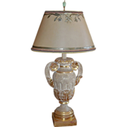 Thomas W Morgan Designer Giltwood Urn Form Lamp w Custom Shade