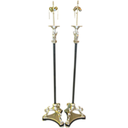 Pair Thomas W Morgan Designer Floor Lamps w Tripod Claw Feet & Winged Sphinx